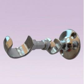 Soporte doble cromado abierto para tubo de 25x13 mm