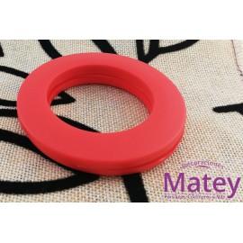 OJILLO PLASTICO GRANDE ROJO MATE, INTERIOR 45 MM EXTERIOR 73 MM MARCA DM.
