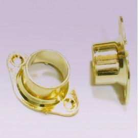 Brida para tubo de 25mm dorada cerrada