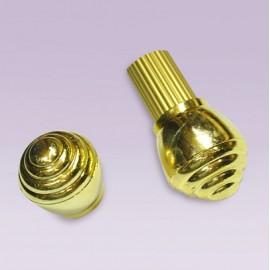 Tapon de caracol plastico dorado para tubo de 32 mm
