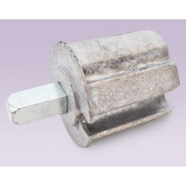 Cople metálico para tubo de 56 mm eje cuadrado